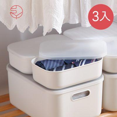 SHIMOYAMA_北歐風霧面附蓋扁形收納盒-灰白-S-3入-1