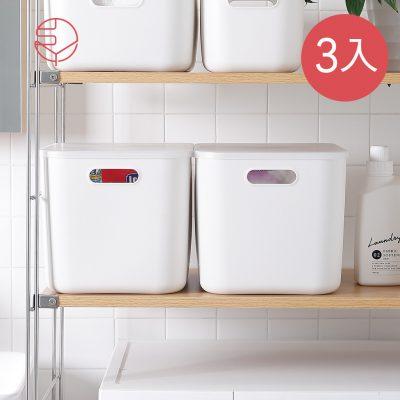 SHIMOYAMA_北歐風霧面附蓋把手收納盒-灰白-L-3入-1