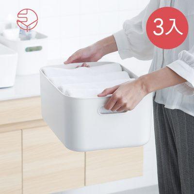 SHIMOYAMA_北歐風霧面附蓋把手收納盒-灰白-M-3入-1