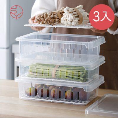 SHIMOYAMA_可疊式冰箱生鮮:蔬果冷藏冷凍保鮮盒-3入