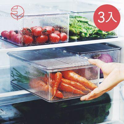 SHIMOYAMA_掀蓋式層疊PET耐凍冰箱蔬果生鮮收納盒-3入-1