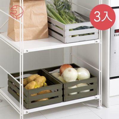 SHIMOYAMA_日式鄉村風仿木摺疊置物收納籃-3入-1