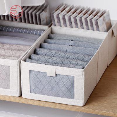 SHIMOYAMA_棉麻布摺疊式分類收納盒(附透窗)-L-1