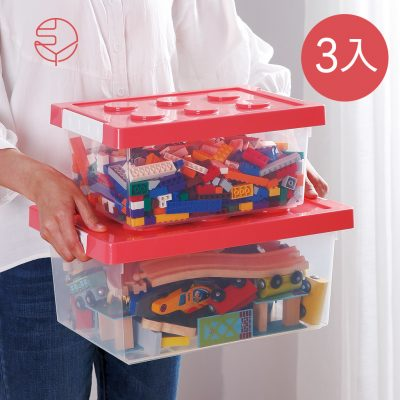 SHIMOYAMA_樂高可疊式積木玩具收納盒-加大款-3入-1