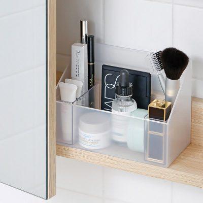 日本霜山 無印風彩妝保養品分類收納盒 (附分隔盒)