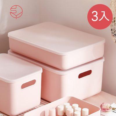 SHIMOYAMA_無印風霧面附蓋扁形收納盒-櫻花粉-L-3入-1