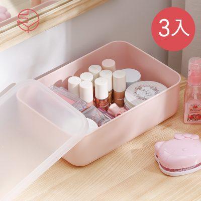 SHIMOYAMA_無印風霧面附蓋扁形收納盒-櫻花粉-S-3入-1