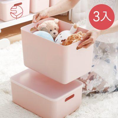 SHIMOYAMA_無印風霧面附蓋把手收納盒-櫻花粉-L-3入-1