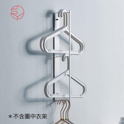 SHIMOYAMA_萬用免鑽牆面:側面衣架收納金屬掛架-白-1