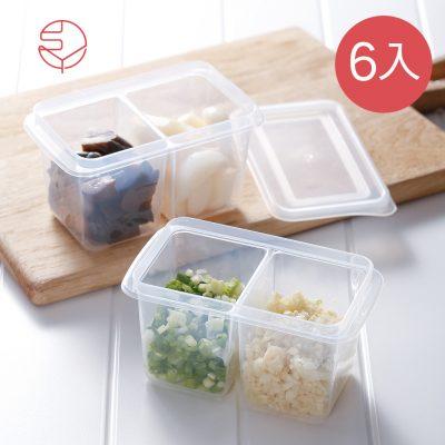 SHIMOYAMA_雙格蔥薑蒜:醬菜冷藏冷凍保鮮盒附蓋-280ml-6入-1