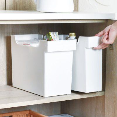 日本霜山 16.5cm面寬廚櫃隙縫多功能收納盒(附輪) 3入