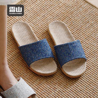 SHIMOYAMA_EVA日式禪風亞麻防滑室內拖鞋-多色男女款可選Blue