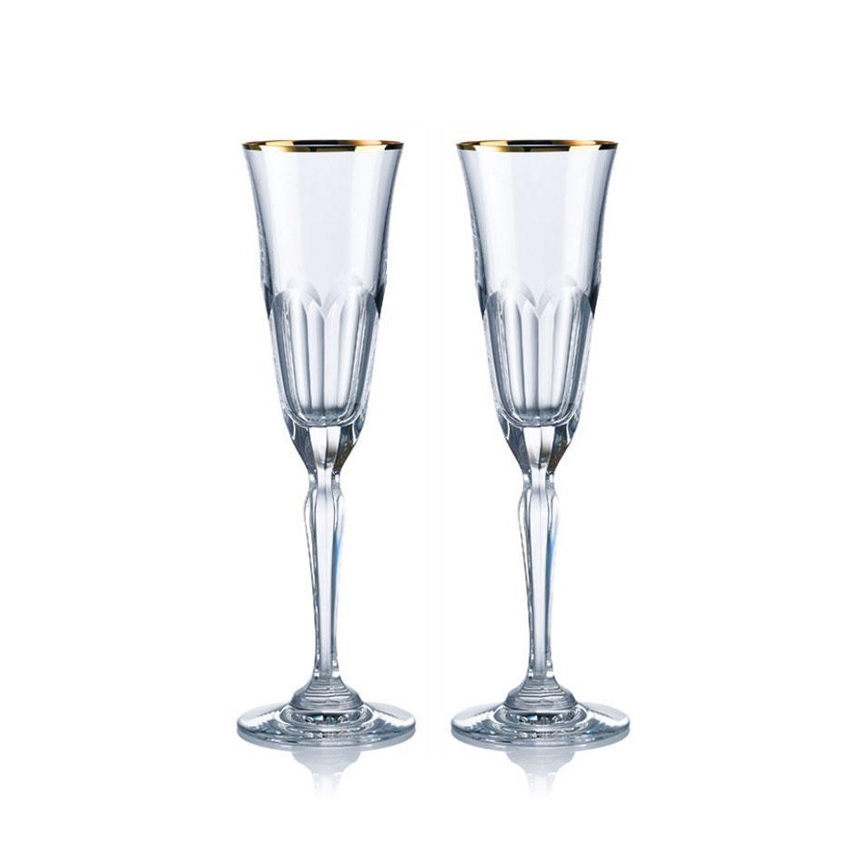 歐洲 ROGASKA 水晶玻璃 AULIDE GOLD 金色歐雷帝 香檳杯 2支裝