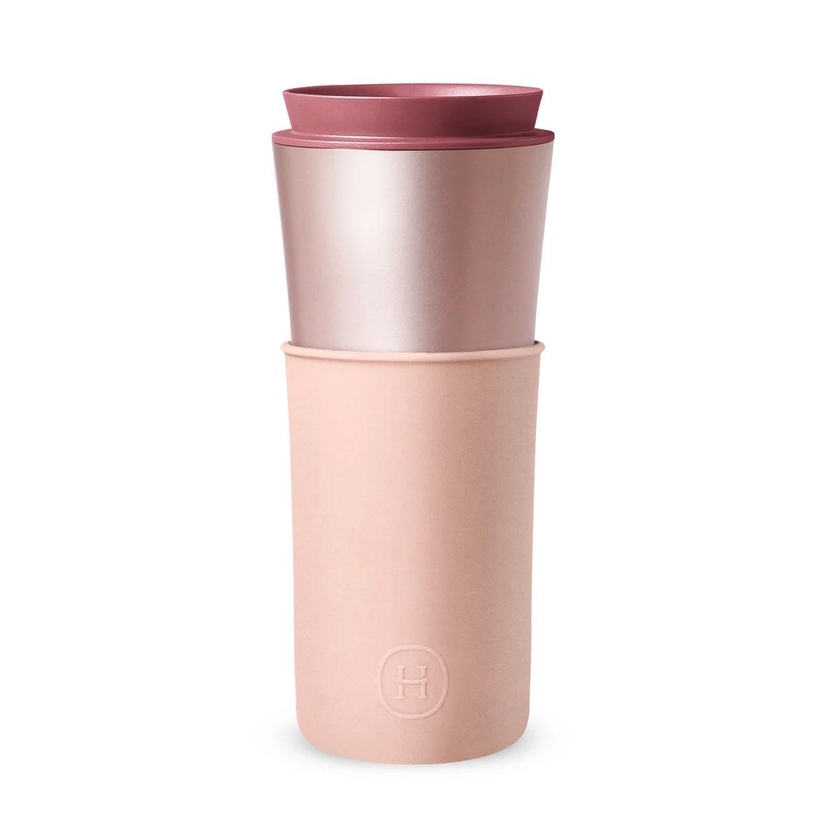 美國 HYDY 兩用隨行保溫杯 450ml 珠光粉杯 (拿鐵)