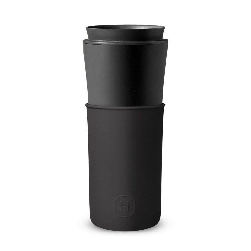 美國 HYDY 兩用隨行保溫杯 450ml 黑杯(午夜黑)