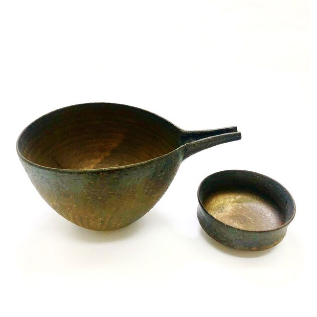 日本 美濃燒 水野窯 銅彩酒器組(一壺一杯)