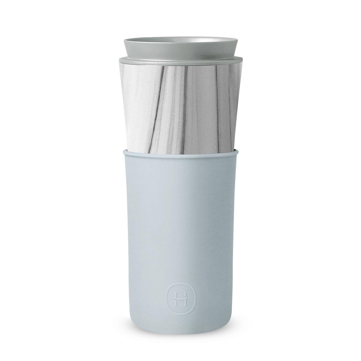美國 HYDY 兩用隨行保溫杯 450ml 大理石紋杯 (積雲)