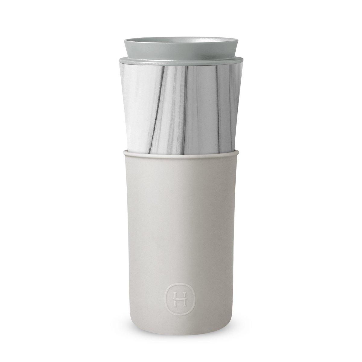 美國 HYDY 兩用隨行保溫杯 450ml 大理石紋杯 (雲灰)