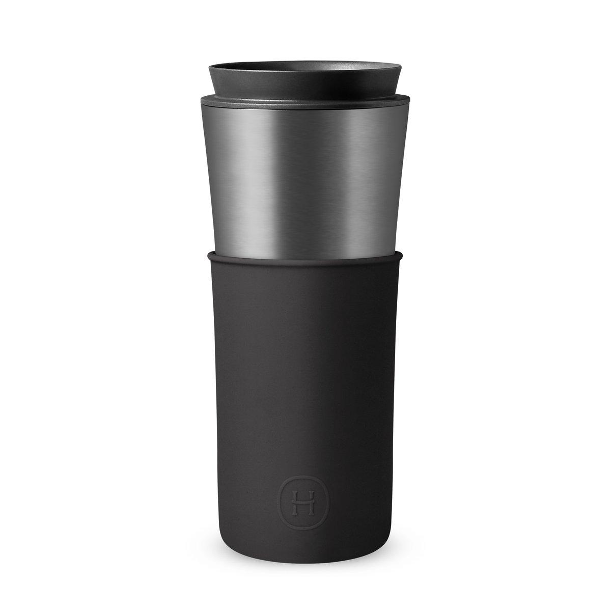 美國 HYDY 兩用隨行保溫杯 450ml 鈦灰杯 (午夜黑)
