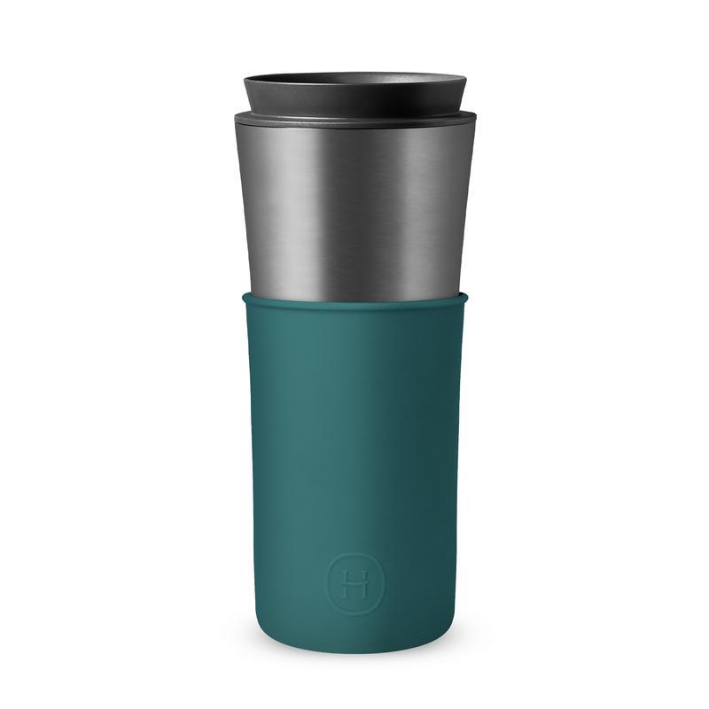 美國 HYDY 兩用隨行保溫杯 450ml 鈦灰杯 (孔雀綠)