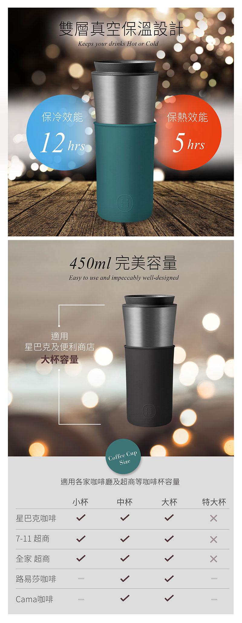 美國 HYDY 兩用隨行保溫杯 450ml 鈦灰杯