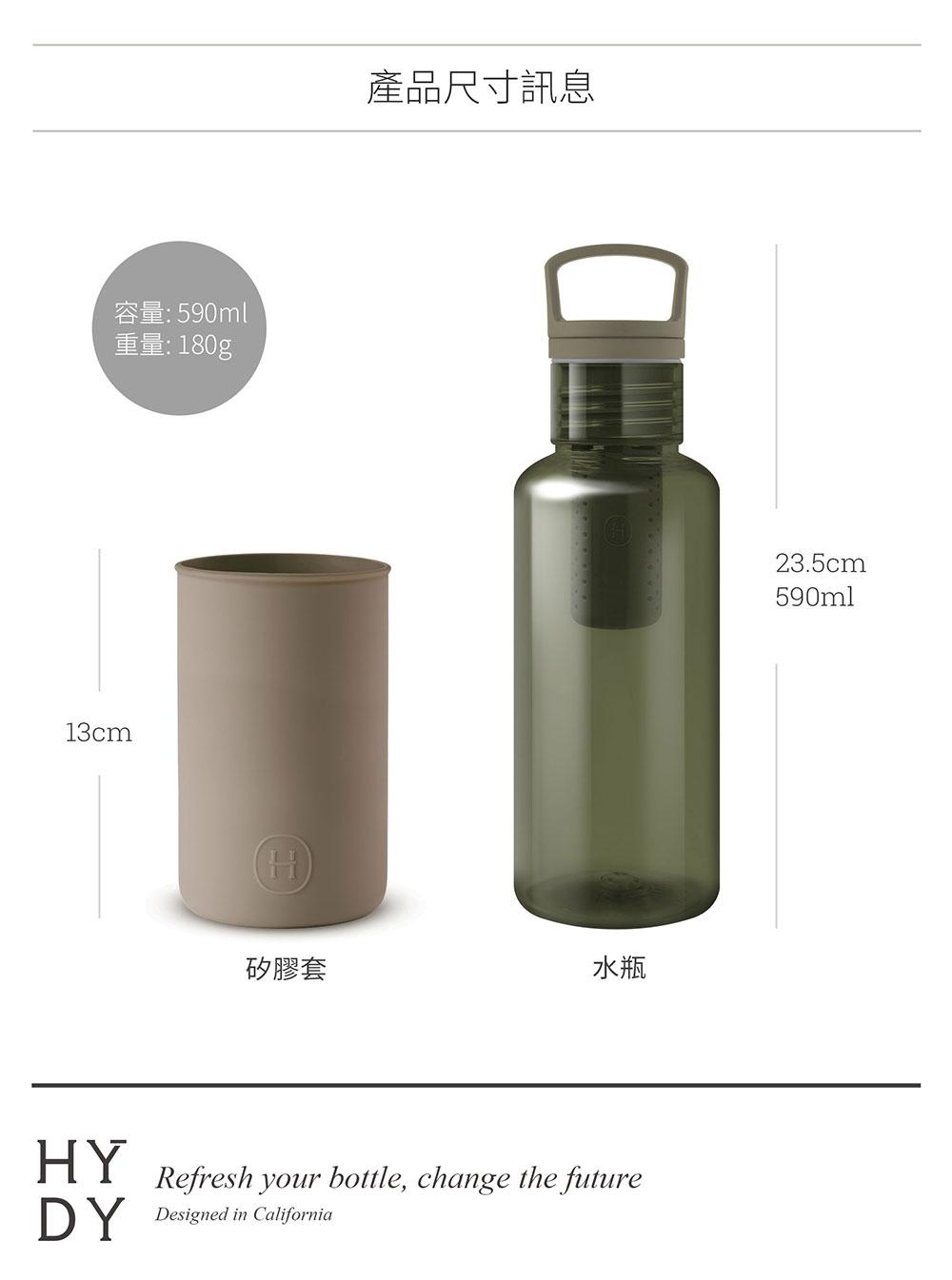 美國 HYDY 輕靚系列 透明冷水瓶 590ml 森綠瓶 (荒野)