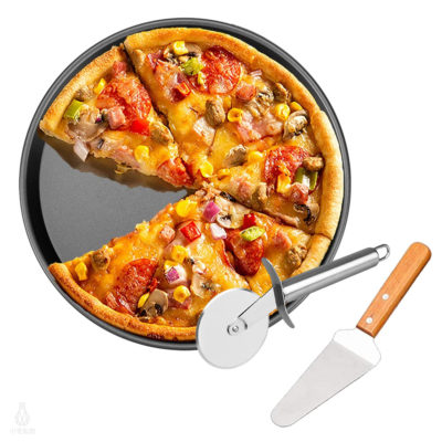 turk 專業用Pizza烤盤刀鏟三件組 (烤盤+滾輪刀+木柄披薩鏟)