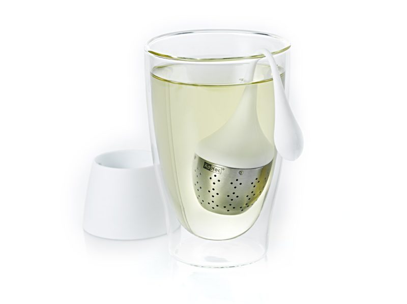 AdHoc 白色附底座杯掛式濾茶器