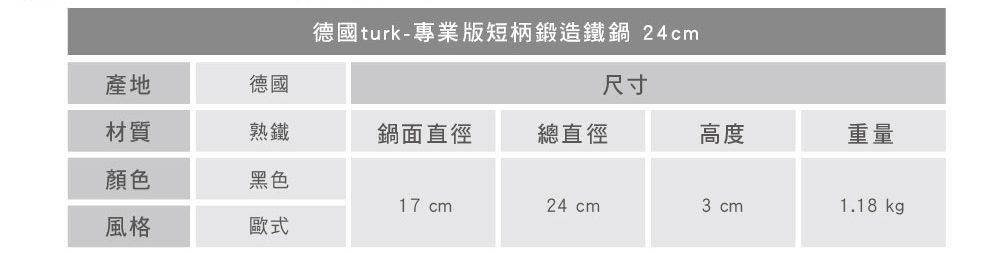 turk 專業版短柄熱鍛造鐵鍋 24cm