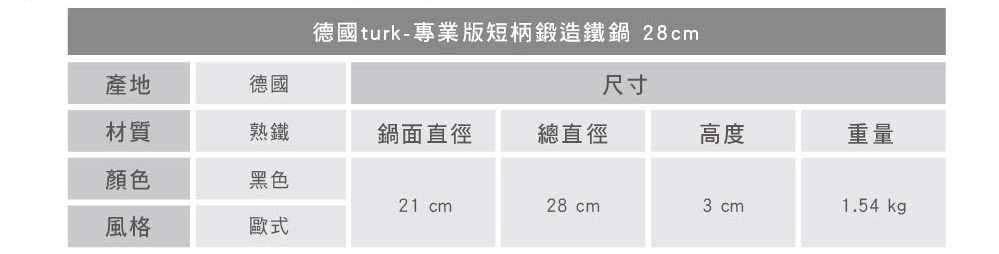 turk 專業版短柄熱鍛造鐵鍋 28cm