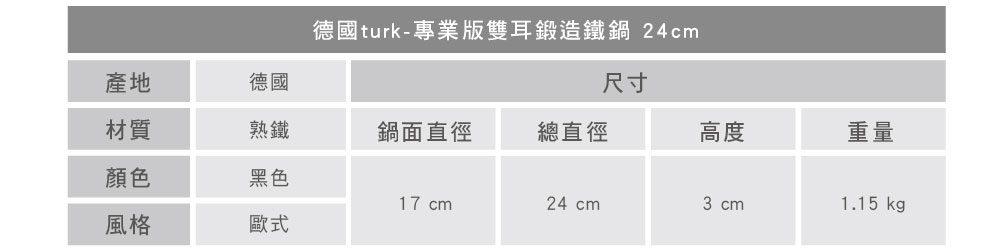 turk 專業版雙耳熱鍛造鐵鍋 24cm